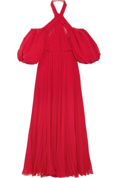 Giambattista Valli - Cold-shoulder Pleated Silk-chiffon Halterneck Gown - Red