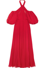 Giambattista Valli Cold-shoulder pleated silk-chiffon halterneck gown