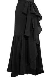 Ruffled silk crepe de chine maxi skirt