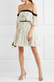 Giambattista Valli Off-the-shoulder ruffled floral-print silk-chiffon mini dress