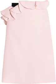 Giambattista Valli Grosgrain-trimmed ruffled crepe skirt