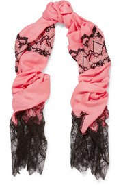 Valentino Lace-trimmed embroidered modal, wool, silk and cashmere-blend scarf