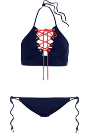 Lace-up halterneck bikini
