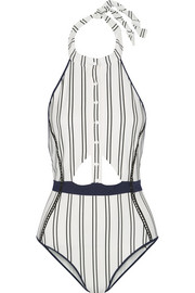 Cutout striped bonded jersey halterneck swimsuit