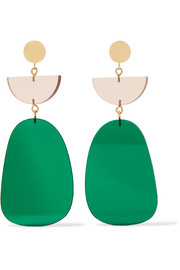 Gold-tone acrylic earrings