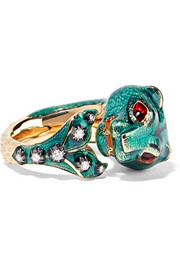 Gucci 18-karat gold, diamond and enamel ring