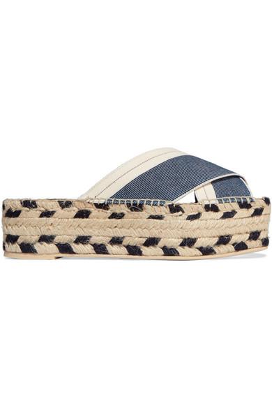 Denim and canvas espadrille platform sandals
