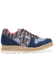 Macy denim, striped canvas and jute sneakers