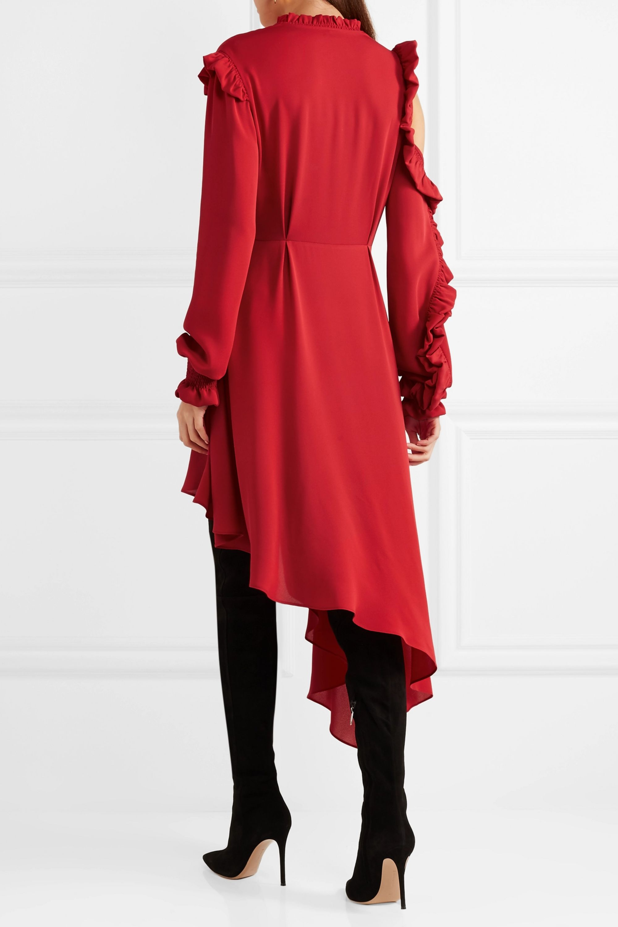 Magda Butrym Marbella asymmetric ruffled silk-crepe midi dress