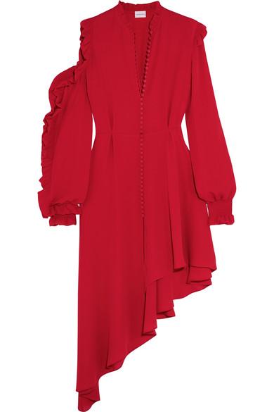 Magda Butrym - Marbella Asymmetric Ruffled Silk-crepe Midi Dress - Red