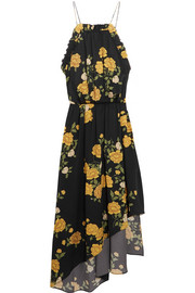 Bergen asymmetric ruffled floral-print silk dress
