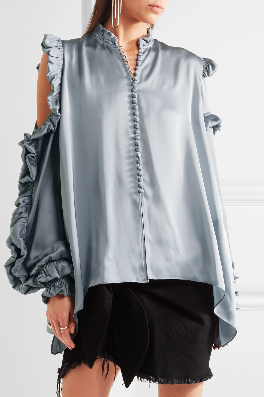 Magda Butrym Lecce cutout ruffled silk-satin blouse