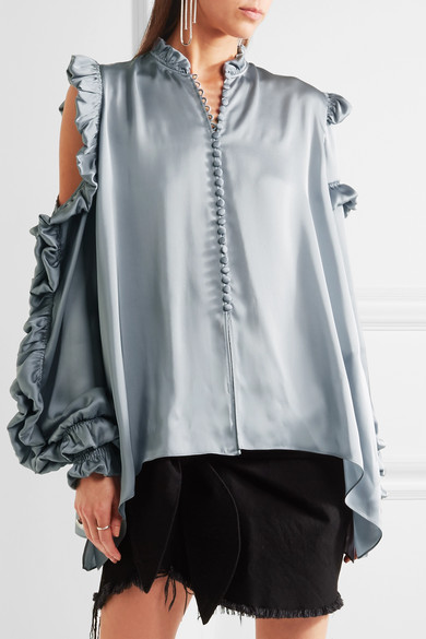 MAGDA BUTRYM Lecce Silk Satin Cold-Shoulder Blouse, Gray