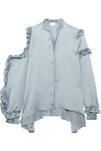 Lecce cutout ruffled silk-satin blouse