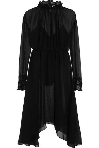 Magda Butrym - Aviles Asymmetric Crochet-trimmed Silk-chiffon Dress - Black