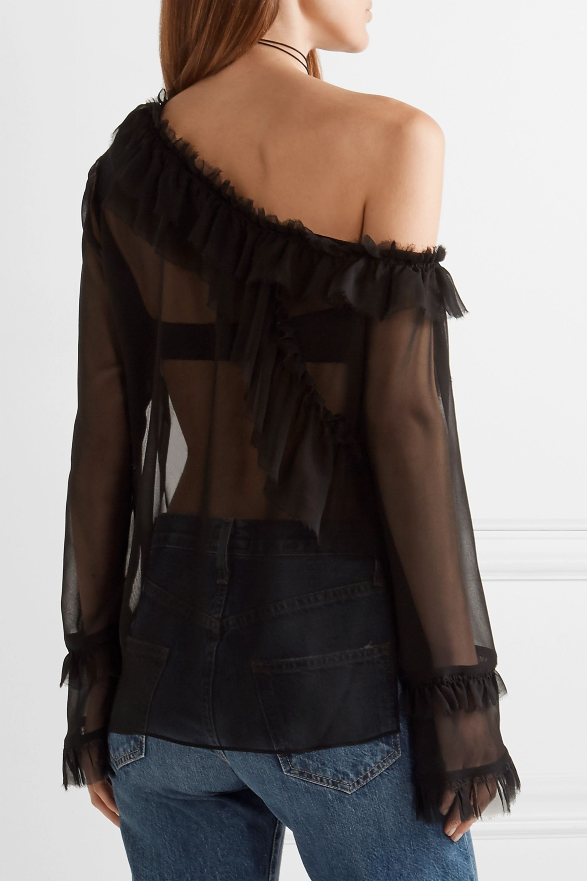 Magda Butrym Vigo one-shoulder ruffle-trimmed silk-chiffon blouse