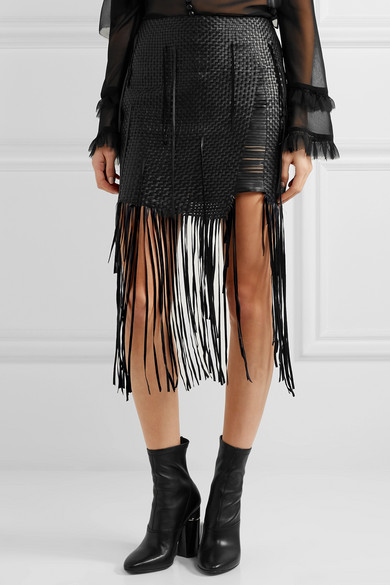 Magda Butrym | Norwich fringed woven leather mini skirt | NET-A ...