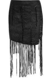 Norwich fringed woven leather mini skirt