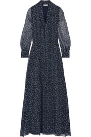 Pussy-bow printed silk-crepon maxi dress