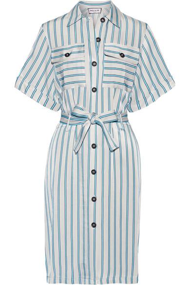 Paul & Joe - Belted Striped Satin-twill Dress - Light gray