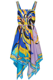 Fiore Maya asymmetric printed silk-chiffon dress