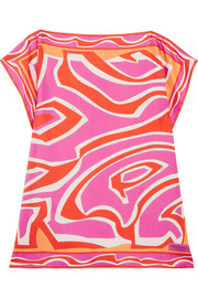 Printed silk-twill coverup