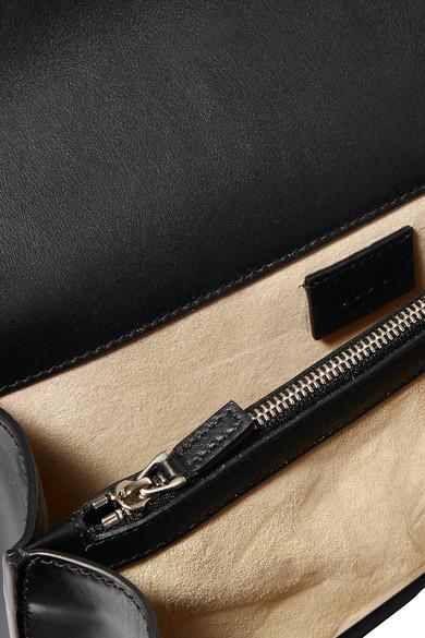 GUCCI DIONYSUS STUDDED FLORAL-EMBROIDERED LEATHER CHAIN SHOULDER BAG, BLACK PATTERN