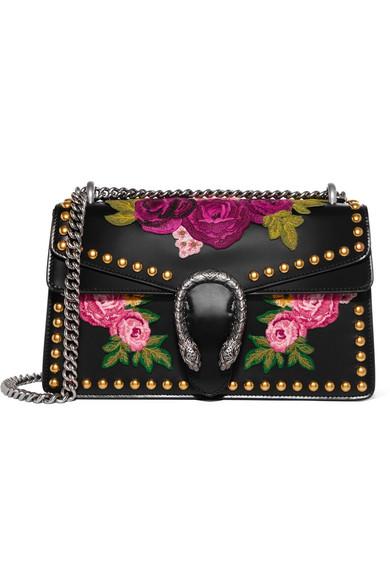 Gucci - Dionysus Studded Appliquéd Leather Shoulder Bag - Black
