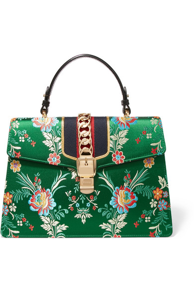 Gucci - Sylvie Large Chain-embellished Jacquard And Leather Tote - Green