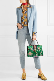 Gucci Sylvie large chain-embellished jacquard and leather tote