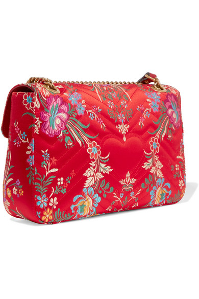 09e7cb6ec763 Gucci. GG Marmont medium quilted floral-jacquard shoulder bag. $1,790. Zoom  In