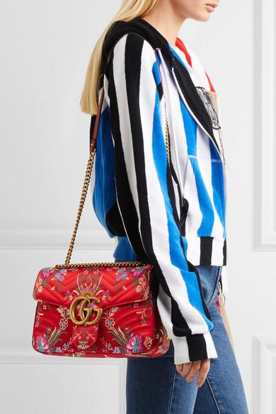 e21de715b039 Gucci. GG Marmont medium quilted floral-jacquard shoulder bag.  1