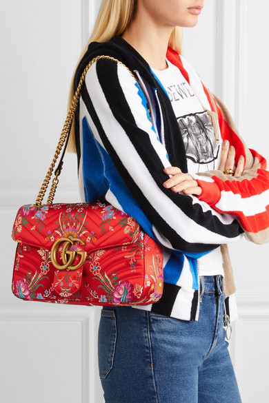 b6a1419bceae93 Gucci. GG Marmont medium quilted floral-jacquard shoulder bag. $1,790. Zoom  In
