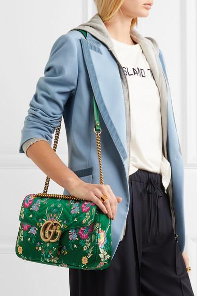 8c22e590dd42 Gucci | GG Marmont medium quilted floral-jacquard shoulder bag | NET ...