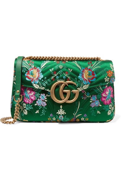 d57e0198a95891 Gucci | GG Marmont medium quilted floral-jacquard shoulder bag | NET ...