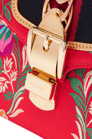 GUCCI SYLVIE SMALL FLORAL TOP-HANDLE SATCHEL BAG, GREEN, RED