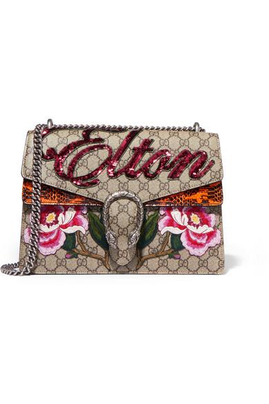Gucci Dionysus AppliquÉD Coated-Canvas And Watersnake Shoulder Bag, Beige-Multi