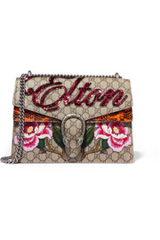 Gucci Dionysus appliquéd coated-canvas and watersnake shoulder bag