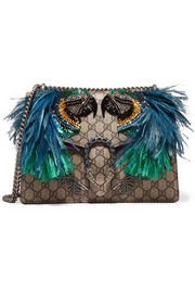 Gucci Dionysus feather-embellished coated-canvas and suede shoulder bag