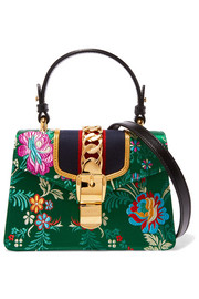 Gucci Sylvie jacquard-paneled leather shoulder bag