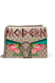 Gucci Dionysus medium embellished appliquéd coated-canvas and suede shoulder bag
