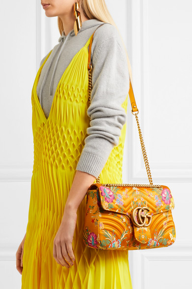 7d3e9f71e0dd64 Gucci. GG Marmont medium quilted floral-jacquard shoulder bag. €1,390. Zoom  In