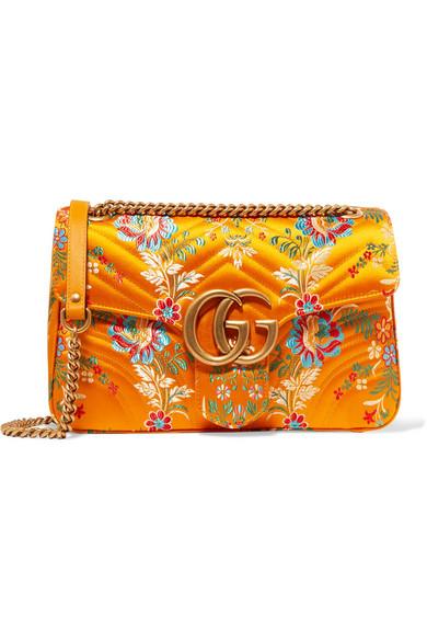 Gucci - Gg Marmont Medium Quilted Floral-jacquard Shoulder Bag - Saffron