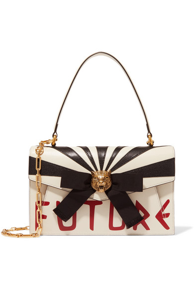 Gucci - Osiride Embellished Leather Shoulder Bag - White