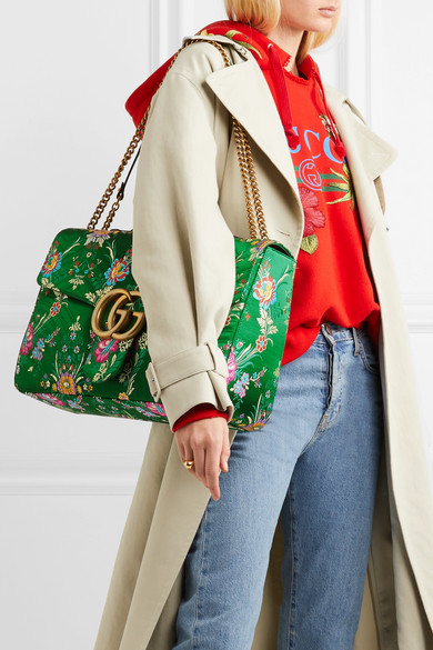 79ffbed52ff Gucci | GG Marmont Maxi quilted floral-jacquard shoulder bag | NET-A ...