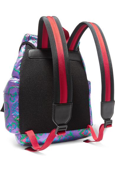 c54dbe931e0 Gucci. Stripe-trimmed embellished metallic brocade backpack