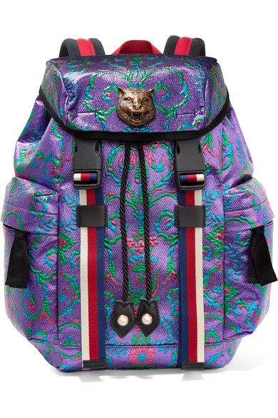 Gucci - Stripe-trimmed Embellished Metallic Brocade Backpack - Purple