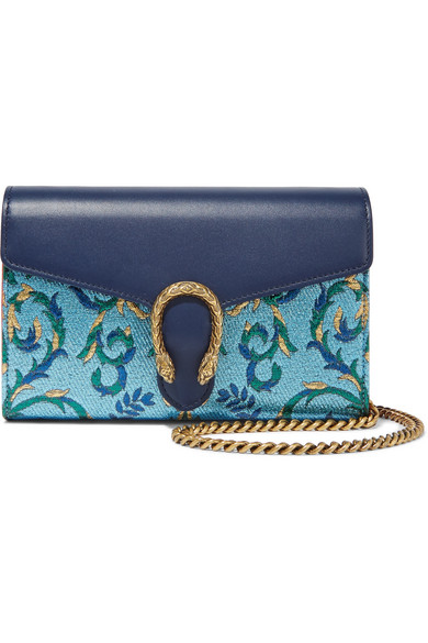 Gucci - Dionysus Metallic Brocade And Leather Shoulder Bag - Blue