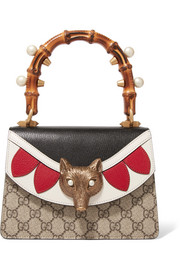 Gucci Linea E Bamboo embellished leather and coated-canvas tote