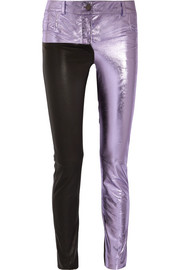 Haider Ackermann Metallic and matte leather skinny pants